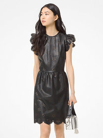 Michael Kors Laser-Cut Floral Faux Leather Dress