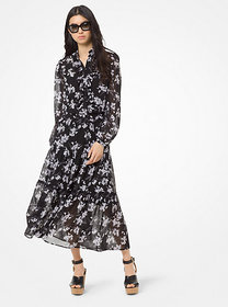 Michael Kors Botanical-Print Georgette Skirt