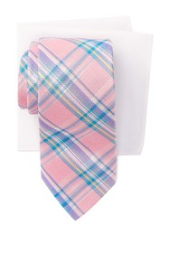 Tommy Hilfiger Madras Check Tie & Pocket Square Bo