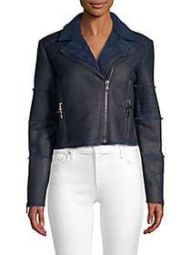 J Brand Aiah Shearling Leather Moto Jacket WASHED