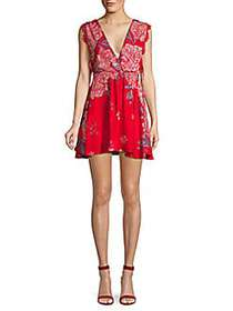 Free People Marnie Printed Mini Dress RED