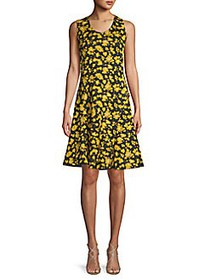 Derek Lam Sleeveless Floral Fit-&-Flare Dress BLAC