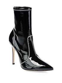 Gianvito Rossi Vinyl Mid-Calf Booties BLACK