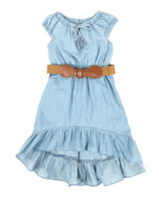 Dollhouse belted hi low ruffle chambray dress (4-6