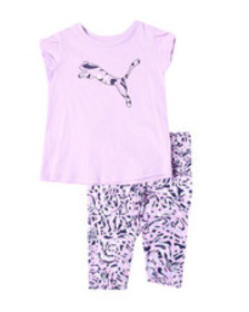 Puma s/s tee & capri leggings set (2t-4t)
