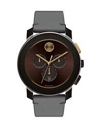 Movado BOLD Men's Metals Stainless Steel and Leath