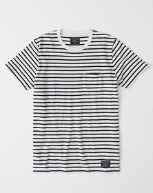 Colorblock Crewneck Tee, WHITE AND NAVY BLUE STRIP