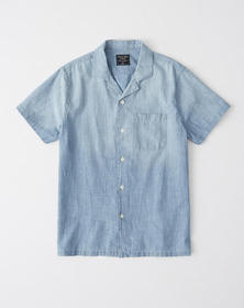 Short-Sleeve Chambray Shirt, CHAMBRAY