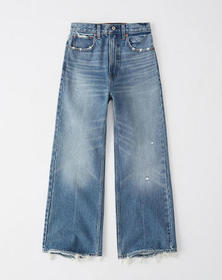 Ultra High Rise Cropped Wide-Leg Jeans, MEDIUM WAS