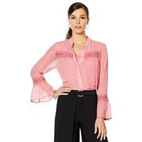 "Antthony ""Fleur For Me"" Chiffon Blouse with Jersey"