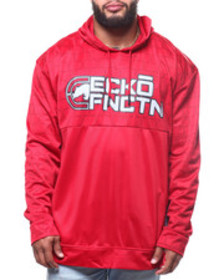 Ecko brushed poly tricot half quilted pop hood (b&
