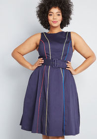 ModCloth ModCloth Between the Lines Belted Dress N