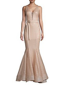 Nicole Bakti Embellished Illusion Mermaid Gown PIN