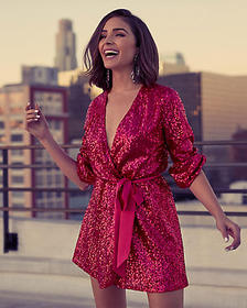 Express olivia culpo surplice sequin dress