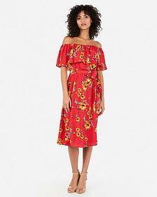 Express floral print off the shoulder ruffle midi