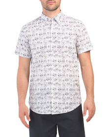 BEN SHERMAN Short Sleeve Animal Face Print Shirt