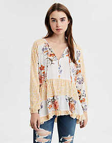 American Eagle AE Long Sleeve Print Mix Tunic