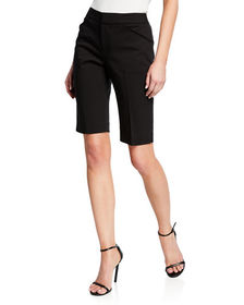 Neiman Marcus Flat-Front Knee Shorts