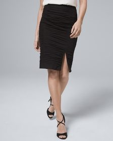 Body Perfecting Ruched Mesh Pencil Skirt