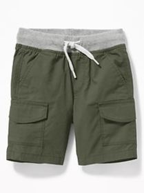 Functional Drawstring Rib-Knit Waist Cargo Shorts