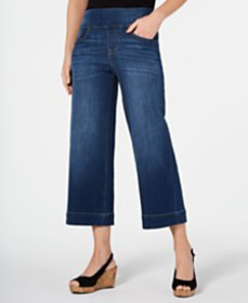 Style & Co Wide-Leg Cropped Pull-On Jeans, Created