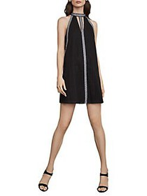 BCBGMAXAZRIA Striped Eyelet Halter Dress BLACK