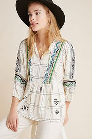 Anthropologie Brielle Embroidered Peasant Top
