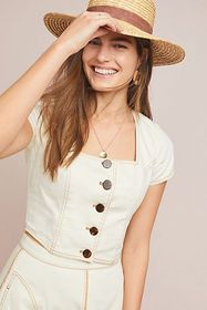 Anthropologie Parkland Button-Front Denim Top