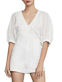 BCBGMAXAZRIA Perforated Cotton Blend Romper OFF WH