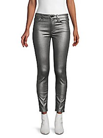 7 For All Mankind Metallic Ankle Skinny Jeans SILV