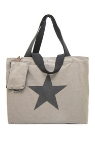 Vintage Addiction Star Grey Washed Canvas Bag with