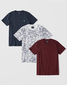 3-Pack Icon Crew Tee, NAVY BLUE-WHITE PATTERN-BURG