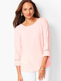 Talbots Lace-Sleeve Crepe Popover