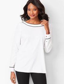 Talbots Piped Poplin Tunic - Solid