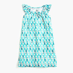 J. Crew Girls' flutter-sleeve nightgown in seahors