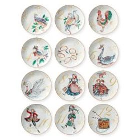 12 Days of Christmas Salad Plates, Set of 12