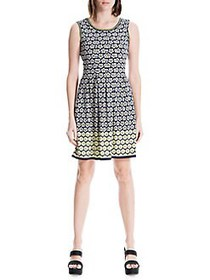 Max Studio Printed A-Line Dress NAVY