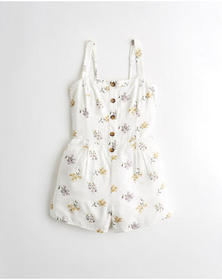 Hollister Button-Front Romper, WHITE FLORAL