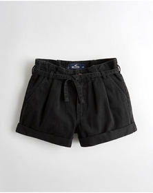 Hollister High-Rise Denim Mom Short 3 in., BLACK