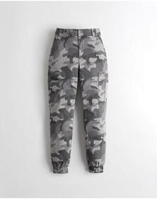 Hollister Ultra High-Rise Twill Joggers, GREY CAMO