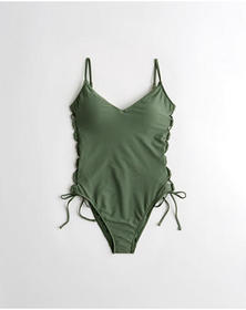 Hollister Lace-Up Side-Tie One-Piece Swimsuit, OLI