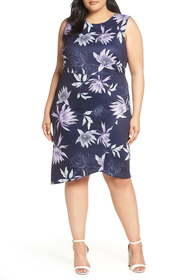 Vince Camuto Asymmetrical Floral Sheath Dress (Plu
