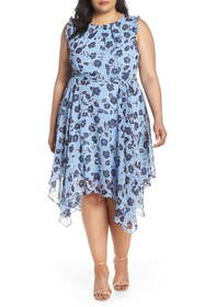 Eliza J Floral Handkerchief Hem Dress (Plus Size)