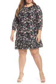 Eliza J Contrast Trim Floral Shift Dress (Plus Siz