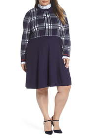 1901 Plaid Bodice Sweater Dress (Plus Size)