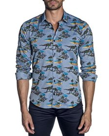 Jared Lang Men's Semi-Fitted Dinosaur Print Sport