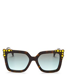 Fendi - Women's Square Embellished Sunglasses, 52m