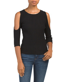 LOVE TOKEN Dax Ribbed Cold Shoulder Sweater
