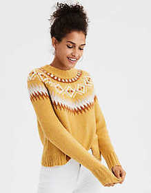 American Eagle AE Fair Isle Crew Neck Sweater