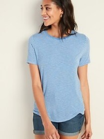 Luxe Striped Curved-Hem Tee for Women